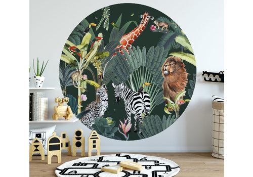 Fleur des Fleurs Animal parade dark green round wallpaper