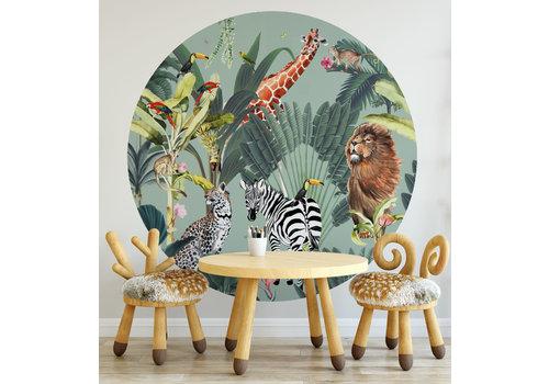 Fleur des Fleurs Animal parade mint round wallpaper