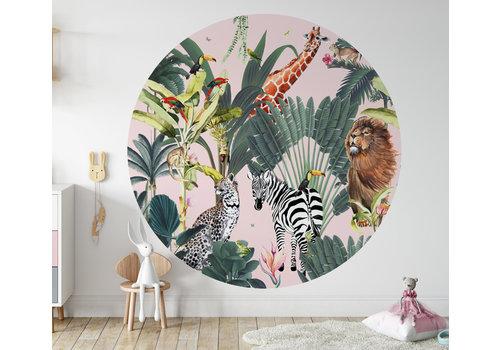 Fleur des Fleurs Animal parade pink round wallpaper