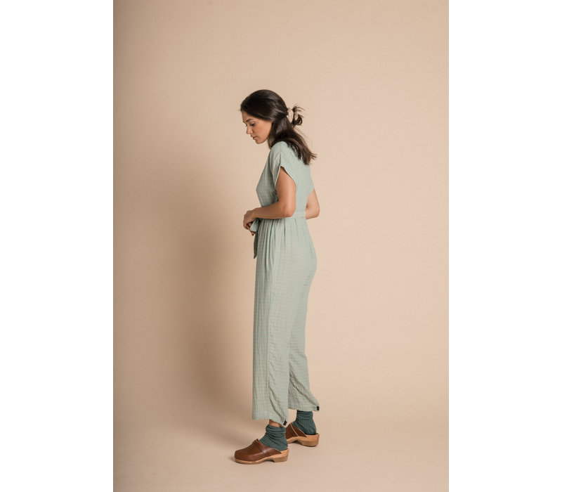 Joya Jumpsuit - Azure Harlequin