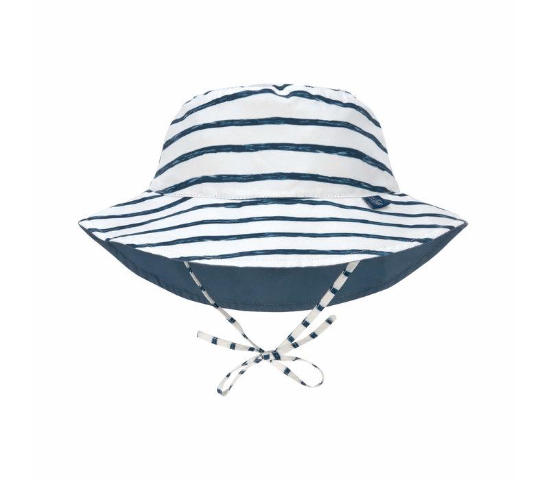 Sun Protection Bucket Hat Stripes navy