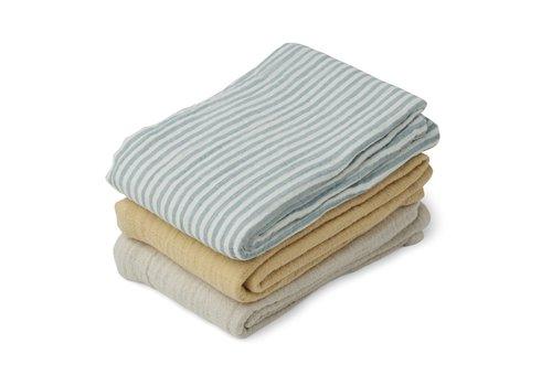 Liewood Line muslin cloth - 3 pack Sea blue stripe mix