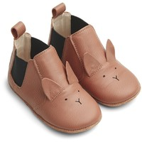 Edith leather slippers rabbit tuscany rose