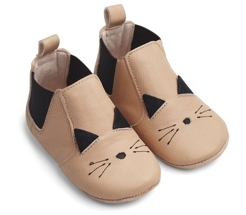 Edith leather slippers cat rose