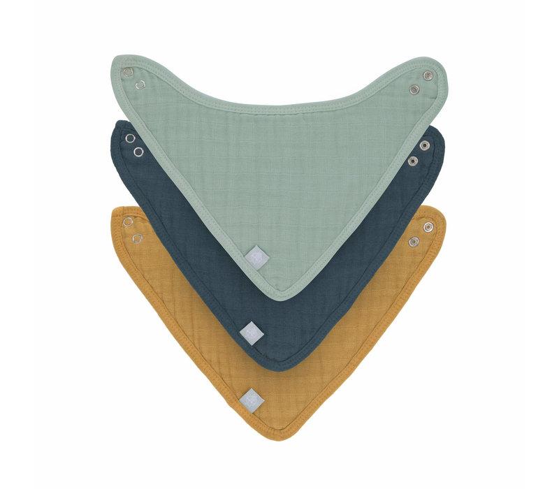 Muslin/Terry Bandana 3pcs green/navy/mustard