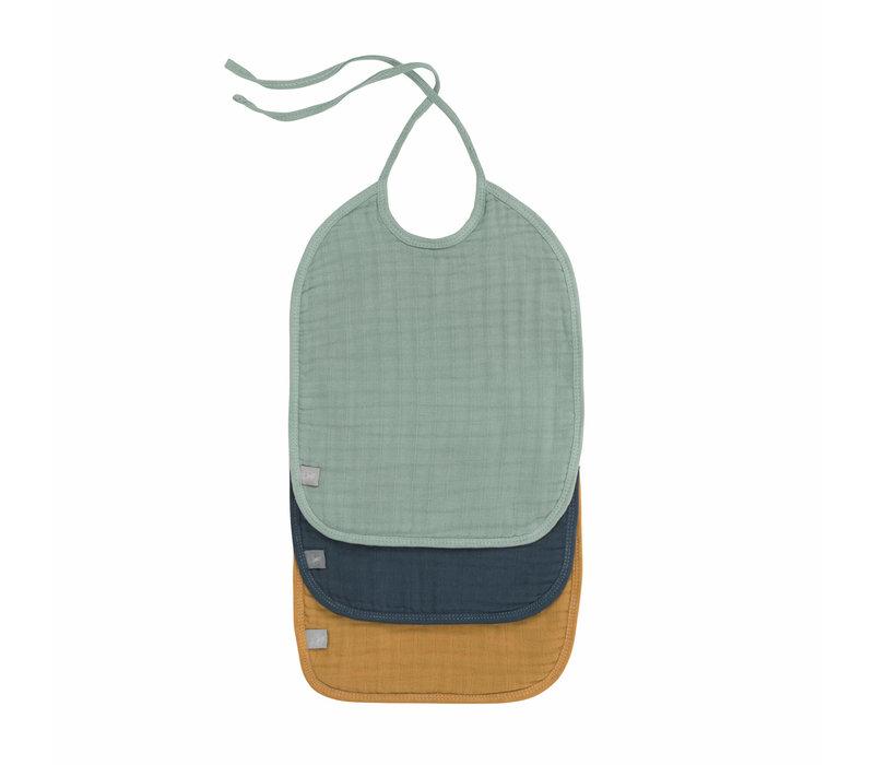 Muslin/Terry Medium Bib 3pcs green/navy/mustard