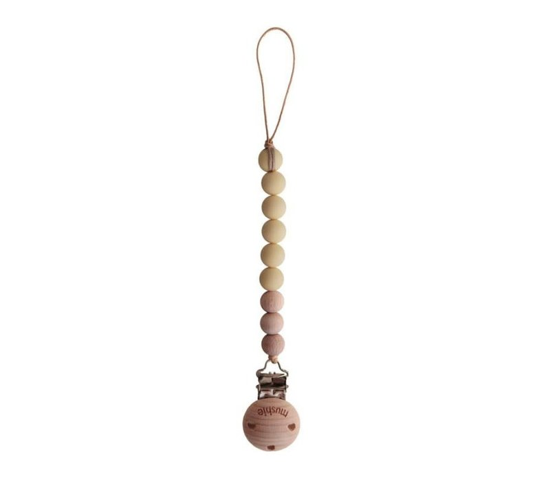 Fopspeenketting Mutted Yellow/wood
