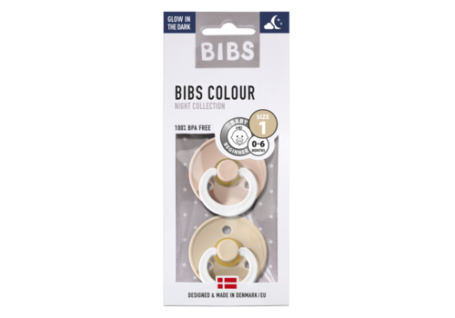 BIBS Fopspeen glow-in-the-dark 0-6m 2st vanilla/blush