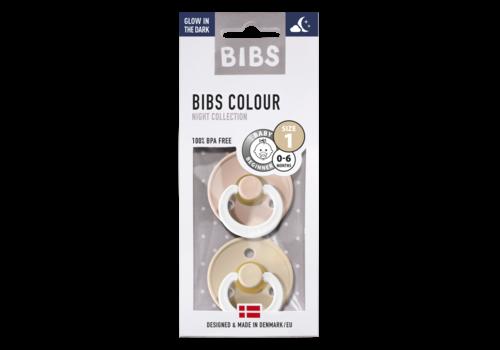 BIBS Pacifier natural rubber glow-in-the-dark 0-6m 2pcs sage/cloud