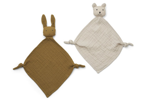 Liewood Yoko mini cuddle cloth 2-pack Olive green/sandy mix