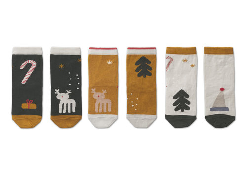 Liewood Silas cotton socks - 3 pack Holiday hunter green multi mix