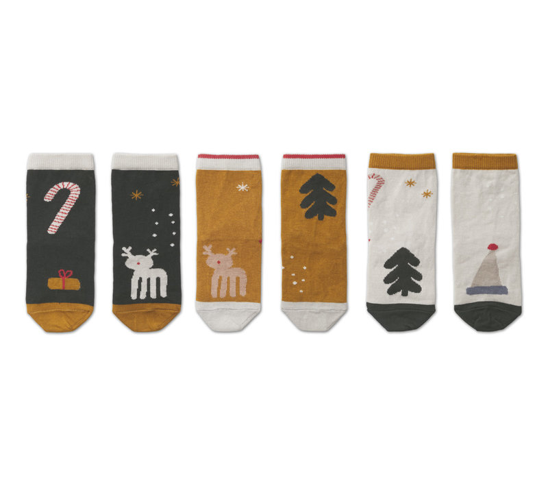 Silas cotton socks - 3 pack Holiday hunter green multi mix