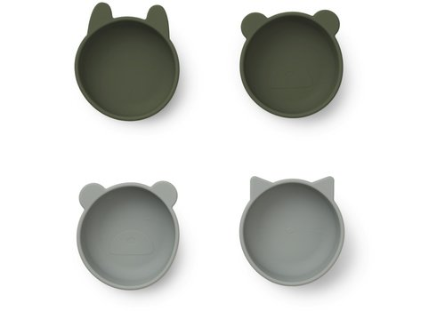 Liewood Iggy silicone bowls - 4 pack Hunter green mix