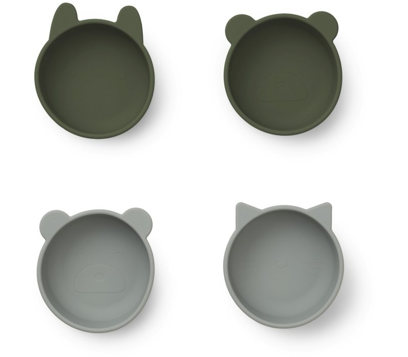 Iggy silicone bowls - 4 pack Hunter green mix
