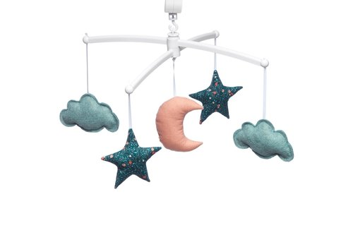 Pouce et Lina Music mobile Moon & Stars green/coral