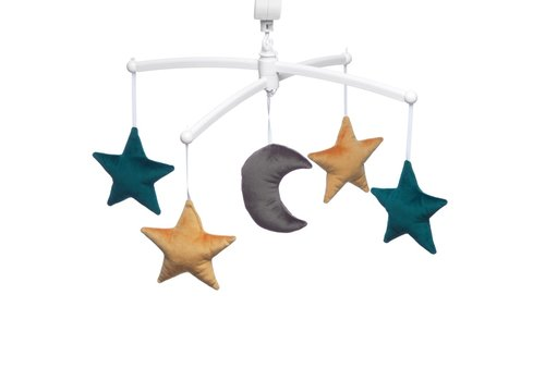 Pouce et Lina Muziekmobiel Moon & Stars velvet green