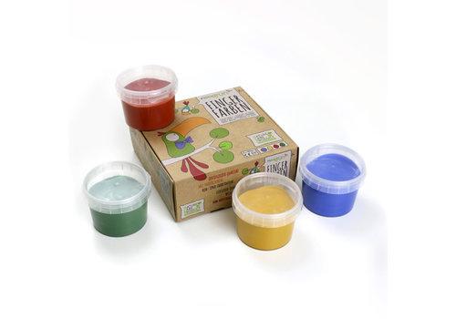 Neogrün Vingerverf set 'Aki' rood   geel   groen   blauw