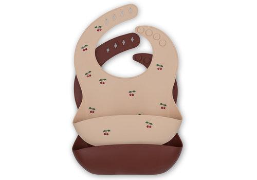 Konges Sløjd 2 Pack baby bib silicone Cherry/mocca