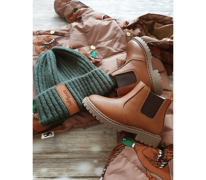 Little Explorer Boots thick lining - Cognac