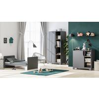 LEAF Cot bed 70x140 graphite/oak