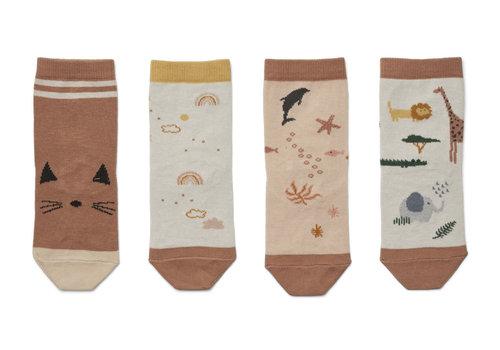 Liewood Silas cotton socks - 4 pack Safari rose mix