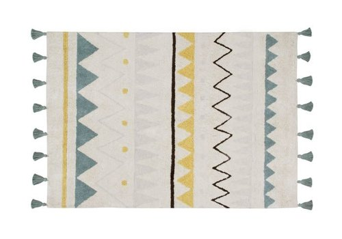 Lorena Canals Washable Rug Azteca Natural Vintage Blue 140 x 200