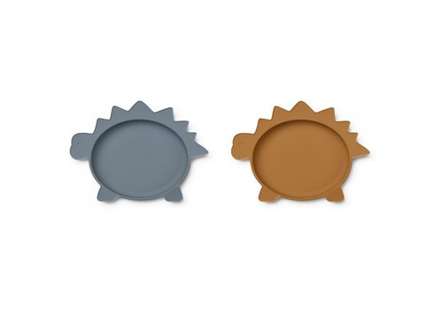 Liewood Olivia plate - 2 pack Dino blue wave/mustard mix