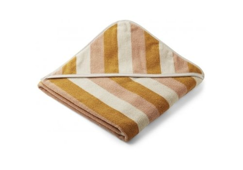 Liewood Louie hooded towel Stripe Peach/sandy/yellow mellow