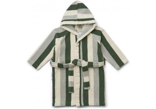 Liewood Reggie bathrobe stripe Garden green/sandy/dove blue
