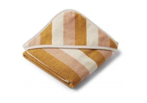 Liewood Alba hooded baby towel stripe Peach/sandy/yellow mellow