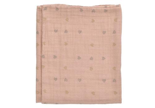 Heart of Gold Blanket Buckley Muslin Terra hearts 70cmx90cm