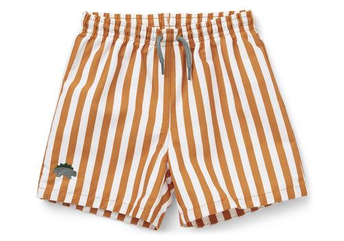 Liewood Duke board shorts Stripe mustard/white