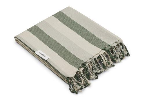 Liewood Mona beach towel Stripe garden green/sandy/dove blue