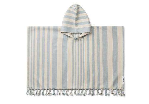 Liewood Roomie poncho stripe: Sea blue/sandy