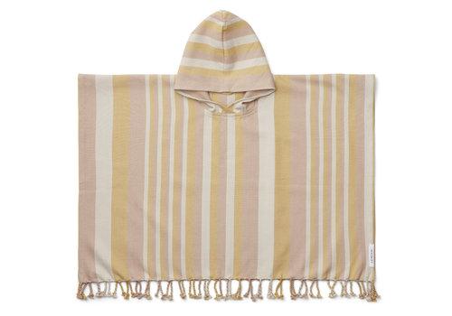 Liewood Roomie poncho stripe: Peach/sandy/yellow mellow