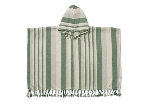 Liewood Roomie poncho stripe: Garden green/sandy/dove blue