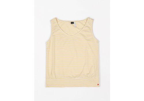 mundo melocotón Loose top jersey yellow stripes