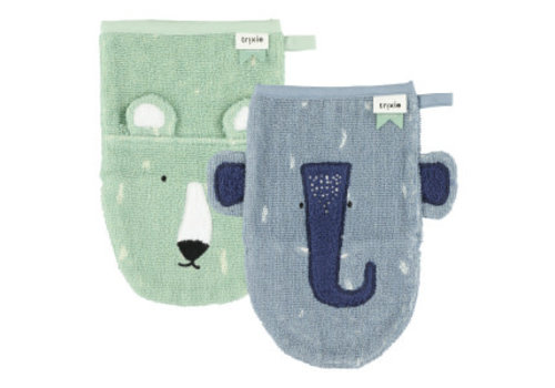 Trixie Washcloths 2-pack Mr. Polar Bear - Mrs. Elephant