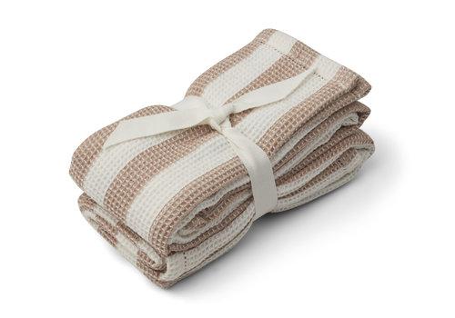 Liewood Leah muslin cloth 2-pack Stripe: Pale tuscany/creme de la creme