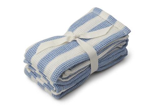 Liewood Leah muslin cloth 2-pack Stripe: Sky blue/creme de la creme