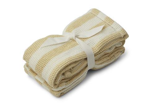 Liewood Leah muslin cloth 2-pack Stripe: Wheat yellow/creme de la creme