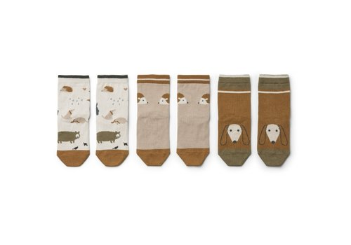Liewood Silas cotton socks - 3 pack Friendship sandy mix