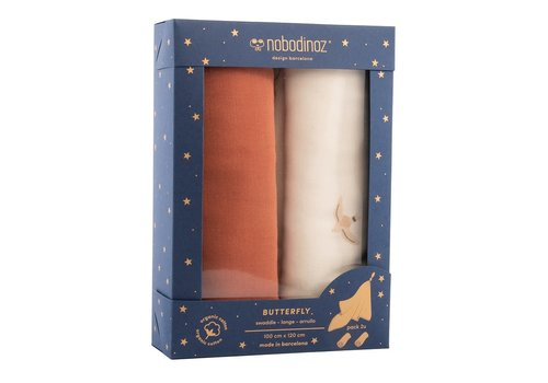 Nobodinoz Box 2 Butterfly swaddles toffee
