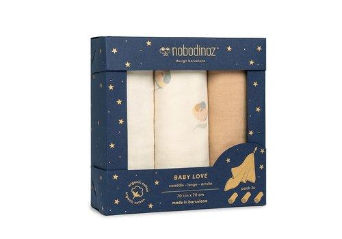 Nobodinoz Box 3 Baby Love swaddles Blossom