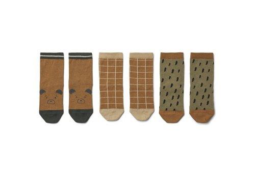 Liewood Silas cotton socks - 3 pack Golden caramel multi mix