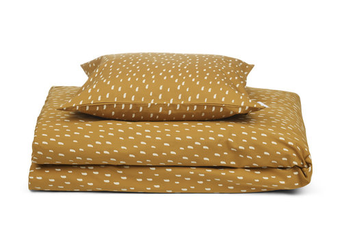 Liewood Dekbedovertrek Ingeborg 100x140cm Graphic stroke/golden caramel