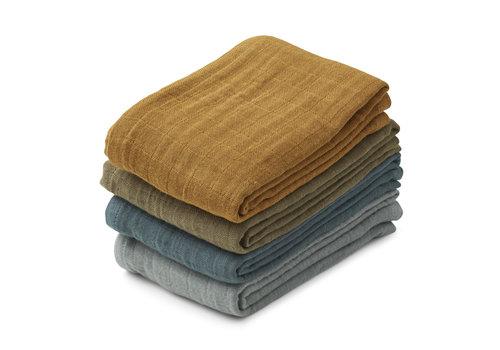 Liewood Leon muslin cloth - 4 pack Whale blue multi mix