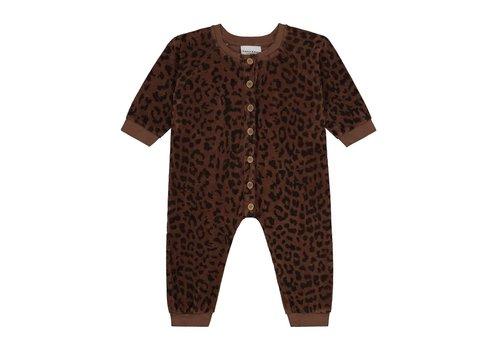 Daily Brat Leopard towel bodysuit hickory brown