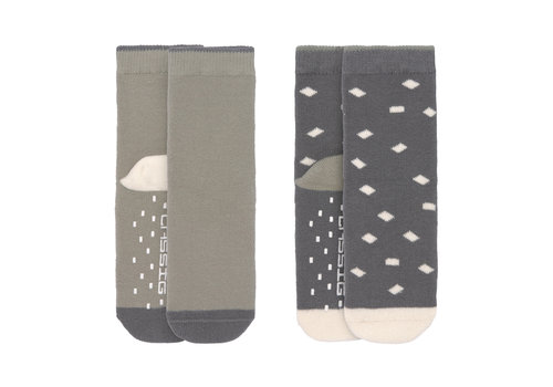 Lässig Anti-slip socks 2 pcs anthracite/olive