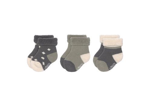 Lässig Newborn Socks GOTS 3 pcs anthracite/olive